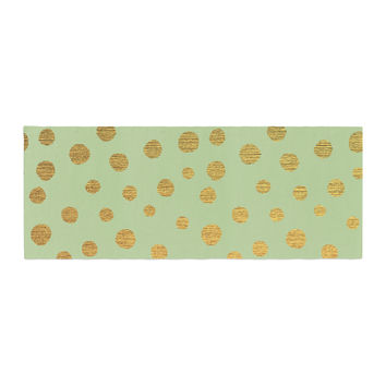 "Nika Martinez ""Golden Dots and Mint"" Green Gold Bed Runner"