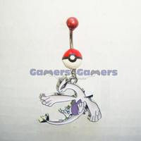 Pokemon- Pokeball Lugia belly button ring