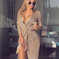 Reign Rose Gold Long Cardigan