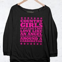 Juniors Country Girls™™ Terry Raglan Pullover - Carburetor