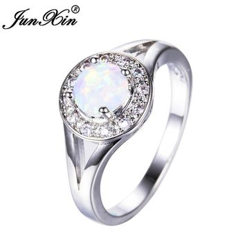 JUNXIN Fashion Women White Round Ring 925 Sterling Silver Filled Jewelry Vintage Wedding Fire Opal Rings For Women