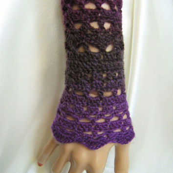 Wrists warmers manchettes crocheted arms warmers crochet wool lace steampunk victorian crochet cuffs