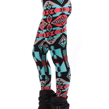 Coral and Turquoise Aztec Leggings