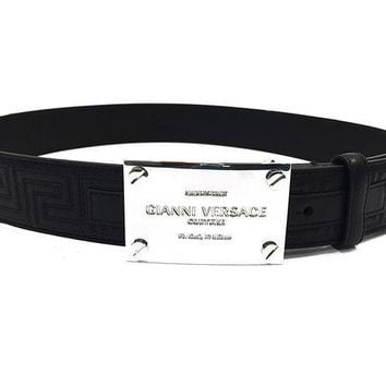 PEAPON Versace Belt Black Leather with Versace Logo (size 90cm)