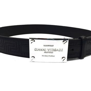 ESBON Versace Belt Black Leather with Versace Logo (size 90cm)