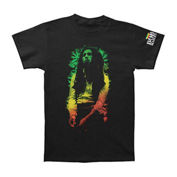 Bob Marley Men's  Rasta Leaves Slim Fit T-shirt Black