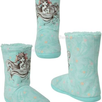Licensed cool DISNEY LITTLE MERMAID ARIEL Sketch Women Slippers Boots Sherpa Plush House Shoes