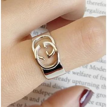 GUCCI Women Fashion New 925 Sterling Silver Personality Opening Ring Silver