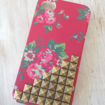 Floral studded iphone 4 case shabby chick cottage chick farmhouse chick by MellaFina