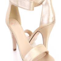 Light Gold Open Toe Single Sole Strappy Heels Faux Leather