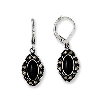 Stainless Steel Black Mosaic Stone & Marcasite Leverback Earrings