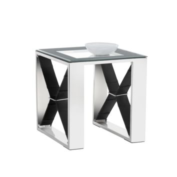MAVI POLISHED STAINLESS STEEL-BLACK LEATHER FRAME WITH TEMPERED GLASS TOP END TABLE