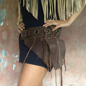 Leather belt bag / Fanny pack / Leather Utility Belt Bag / Festival hip bag / Boho bag / High quality hand made / Infinite styles