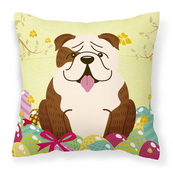 Easter Eggs English Bulldog Brindle White Fabric Decorative Pillow BB6121PW1414