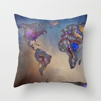 Stars world map. Blue Throw Pillow by Guido Montañés