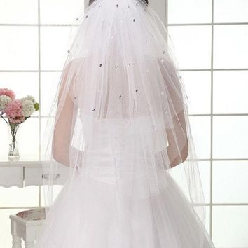 PEAPIX3 soft new lace veil bride married wedding sequined white lace dress accessories (Color: White)