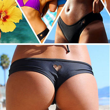 Womens Girls Sexy Bikini Bottom heart pattern  Swimwear Brazilian Thong Heart Cut Out Bottoms