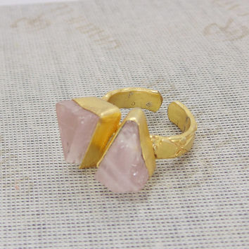 Rose Quartz Ring - Rough Stone Ring - Adjustable Ring - Unique Gold Ring - Yellow Gold Vermeil Ring - Designer Ring - Gold Brass Ring