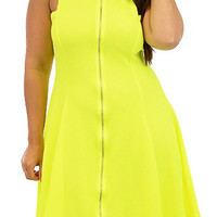 Yellow Plus Size Zipper Design Stand Collar Sleeveless Dress