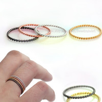 4 colors  twist  ring/layered ring/Daily rings in thin charm.(4ring one set)