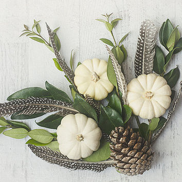 Fall Still Life Photography, Brown, Green and White Wall Art, Pumpkin Photograph, Feather Picture, Thanksgiving Wall Decor, Autumn Photo
