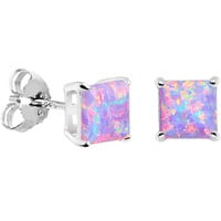 6mm Multi Square Sterling Silver Synthetic Opal Stud Earrings | Body Candy Body Jewelry