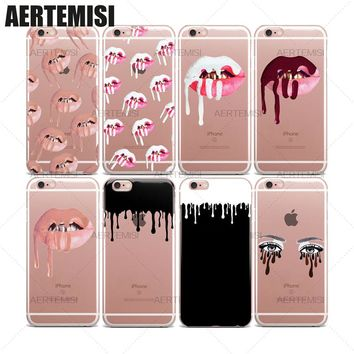 Phone Cases Kylie Jenner Lipstick Lips Kit Cosmetics Clear TPU Case Cover for iPhone 5 5s SE 6 6s 7 Plus