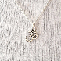 Silver Om Necklace Boho Yoga Jewelry UK