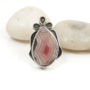 Sterling Silver Ring Laguna Agate Pink Stone Oxidized One of a Kind Jewelry - Gifted RIng Size 7