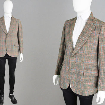 Vintage 60s 70s Plaid Blazer Pure Wool Jacket Melvin Perry Wide Lapels 1970s Mod Jacket Checked Jacket Preppy Blazer Eccentric Clothing Men