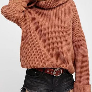 Brown High Neck Long Sleeve Turn Up Cuffs Chunky Knit Sweater