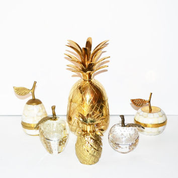Vintage Brass Pineapple Candle Holder Hollywood Regency Brass Pineapple Trinket Dish  Pineapple Figurine Palm Beach Ananas Pina