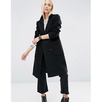 Women Simple Fashion Double Row Buttons Cardigan Long Sleeve Middle Long Section Wool Coat