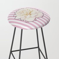 Pale Rose on Stripes Bar Stool by drawingsbylam
