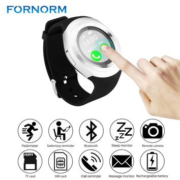 FORNORM Y1 Smart Watch Round Support SIM &TF Card With Bluetooth 3.0 Men Women Business Smartwatch For IOS Android