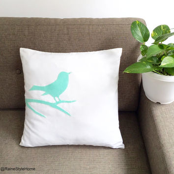 Mint Bird On Branch Modern Pillow Cover Cushion Cover. 17inch White And Light Green Decorative Pillow Case. New Home Gift
