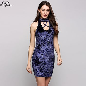 Velvet Halter Collar Sleeveless Cut Out Lacing Solid Pencil Party Dress