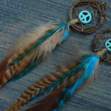 turquoice dreamcatcher peace sign feather earrings  howlite  peace native american inspired tribal boho belly dancer and hipster style