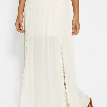 maxi skirt with lace waistband and slits