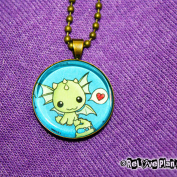 "Happy Dragon Heart 1"" Pendant Necklace - kawaii smile - or 2 for 20 - ReLove Plan.et"