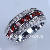 Size 8/9 /10/11/12 Classic Cocktail Jewelry Red Garnet 10KT White Gold Filled GF Gem Ring Band for Men gift