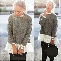 Collar Splicing Solid Color Knit Lace Sweater