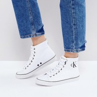Calvin Klein Dolores White Canvas High Top Trainers at asos.com