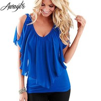 AWAYTR New Ruffles Women Tops Fashion 2018 Womens Summer Chiffon Blouse Plus Size 3XL Batwing Short Sleeve Casual Shirt