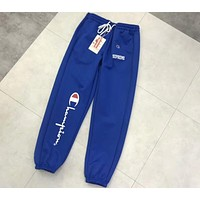 Chanpion & Supreme Joint Summer Casual Trousers Sweatpants F-CY-MN Blue