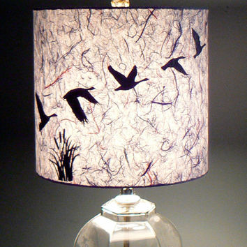 Gray Paper Lamp Shade, Geese in Flight, Drum Shade, Night Flight