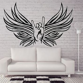 Wall Sticker Vinyl Decal Rocker Hand Sign Goat Fan of Rock Music Unique Gift (n210)
