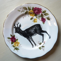 Deer Vintage China Dinner Plate Wall Decor