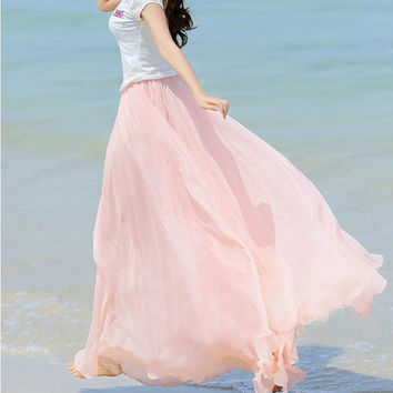 Baby Pink Chiffon Maxi Skirt Long Sundress maternity Wear Holiday Maxi Dress Skirt Beach Skirt  honeymoon skirt
