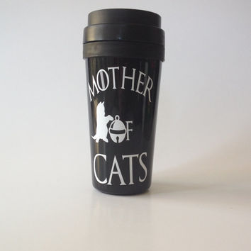 Mother Of Cats 16oz Black Double Wall Plastic Travel Mug **Pick Your Color**Coffee Tumbler** FREE SHIPPING **